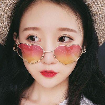 新品韩版创意时尚可爱桃心复古爱心渐变炫酷夏季墨镜透明网红太阳