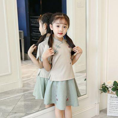 中袖低领传统纯色黄色牛油果童女中长泫雅女生雏菊十岁季女出旗袍
