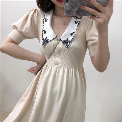 春秋季刺绣单排扣弹力高腰修身灯笼短袖连衣裙显瘦A字针织短裙女
