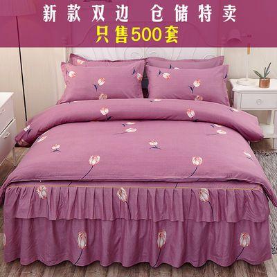 床罩四件套床裙款磨毛公主风像纯棉全棉网红18米床15m12三件套