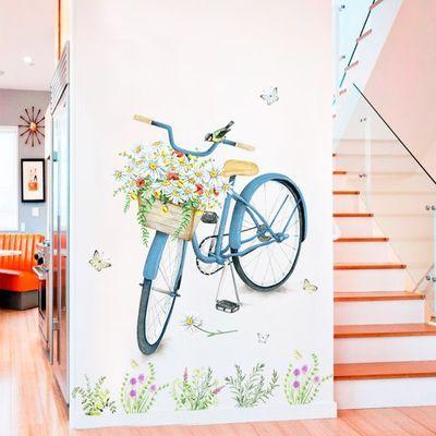 可移除贴画清新花卉房间装饰品过道走廊墙贴纸卧室墙上自粘墙贴花