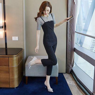 小香风显瘦套装女装2020新款夏季亮丝打底衫女修身吊带连体九分裤
