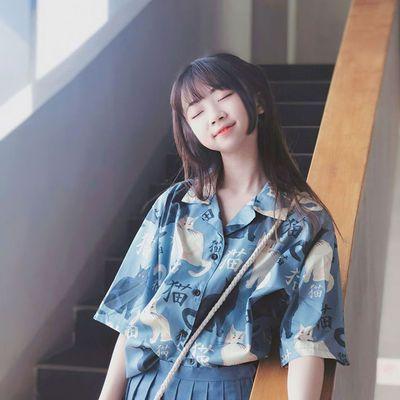 合作色系罩衫衬衫短袖女港风学生通字衣衬韩风徽标带花气短优雅大