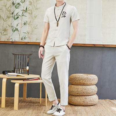 2020夏季男装套装韩版修身休闲纯棉短袖套装夏天中国风唐装两件套