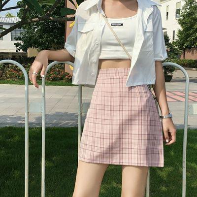2020新款裙子韩版高腰A字半身裙女夏格子学生学院风百搭短裙春秋