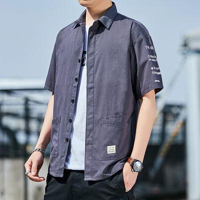 夏季纯棉工装七分袖衬衫韩版潮流帅气休闲百搭宽松短袖衬衣男外套