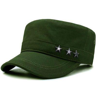 夏季男平顶帽子户外军迷休闲中老年遮阳帽军绿青年五星军帽时尚