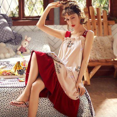 睡裙女夏学生韩版可爱性感吊带无袖宽松棉薄款大码格子睡衣家居服