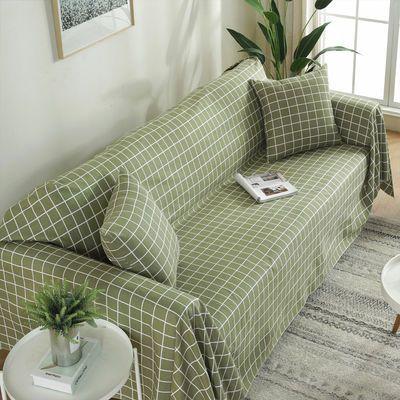 田园格子全盖沙发巾万能沙发布老粗布简约四季沙发套沙发垫盖布罩