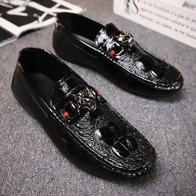 夏季季男士男鞋豆豆鞋韩版潮流学生鞋休闲皮鞋子男一脚蹬社会男鞋