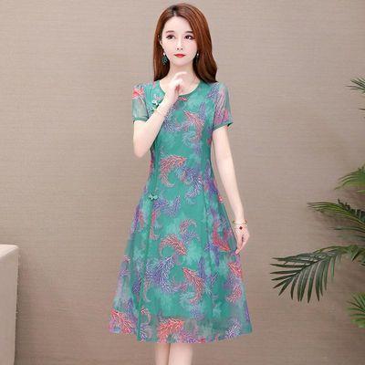 2020夏季阔太太连衣裙女30高贵40岁大码显瘦气质妈妈改良旗袍裙子