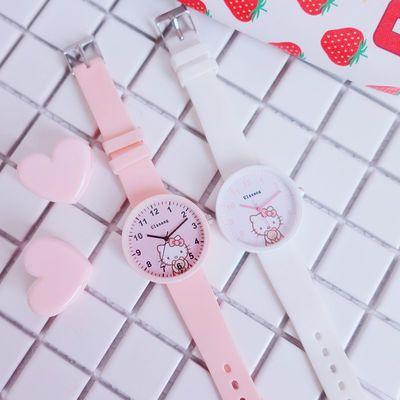 儿童手表女孩防水可爱初中小学生时尚款女童少女公主粉糖果色手表