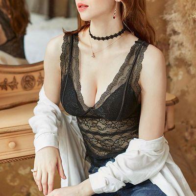 蕾丝皇后吊带背心带胸垫可外穿内搭性感聚拢美背黑色打底衫内衣女