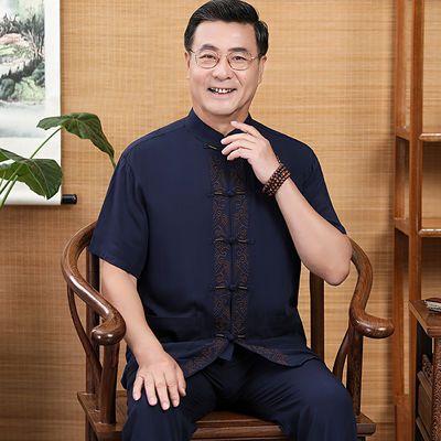 唐装男短袖夏季新款中老年人棉麻套装爸爸爷爷休闲中式汉服中国风