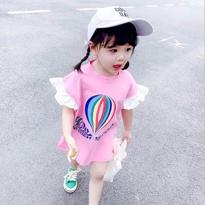 【特价清仓】女童体t恤3岁女宝宝中长款洋气短袖夏季0夏装1儿童夏