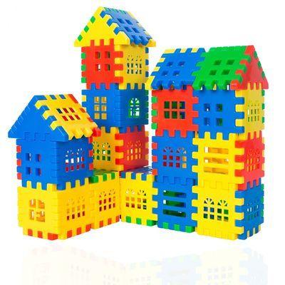 早教儿童益智方块拼插房子积木启蒙拼装幼儿园男女宝宝创意玩具