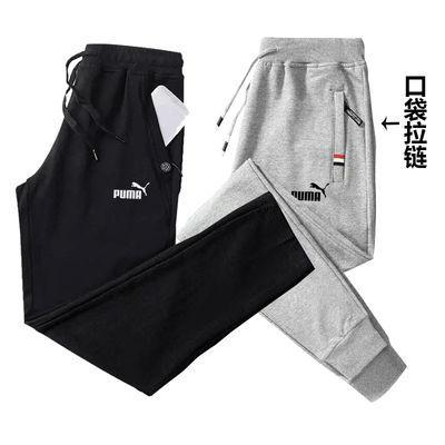 新款夏季纯棉休闲裤男针织运动裤男士宽松薄款直筒束脚跑步卫裤子
