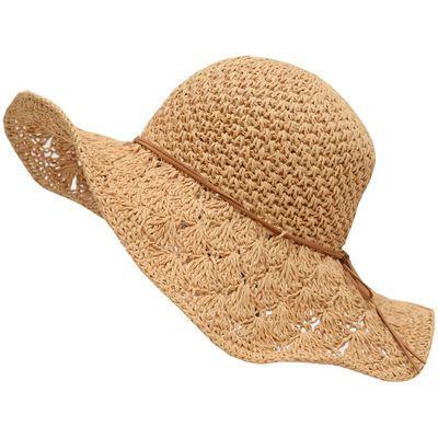 太阳凉帽子女士夏天出游遮阳沙滩草帽遮脸防紫外线百搭帽防晒草编