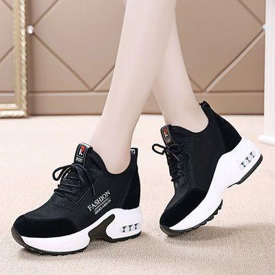 内增高运动鞋女黑色网鞋2020春季新款百搭韩版学生网面坡跟旅游鞋