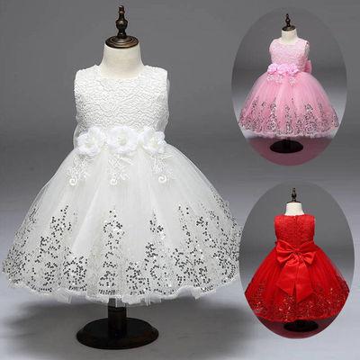 洋气童裙春夏连衣裙女孩夏装花朵女童礼服裙韩版儿童表演服装豪华