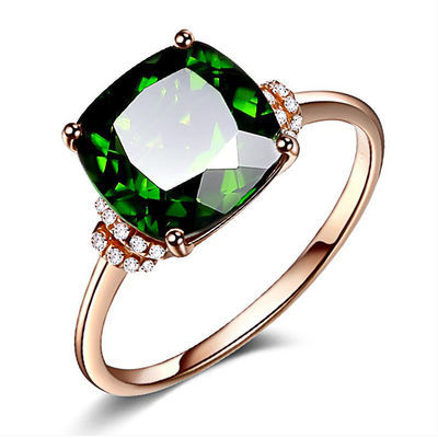 祖母绿戒指女碎钻玫瑰金绿碧玺戒指水晶宝石指环显细显白透辉玉石