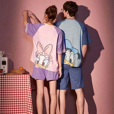 果壳同款情侣睡衣夏天纯棉短袖短裤薄款男女士可爱卡通家居服套装