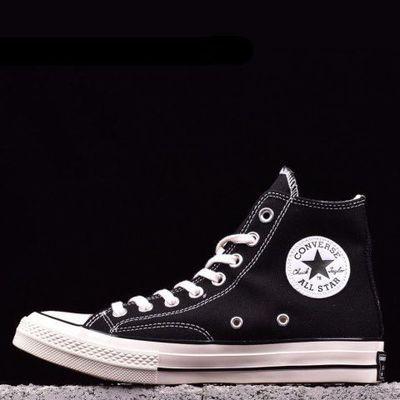 70s春季新款厚底帆布鞋高帮低帮网红鞋学院风百搭学生韩版帆布鞋