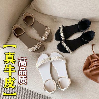 真皮凉鞋女学生韩版2020夏季新款网红百搭软底平底罗马女鞋初中生