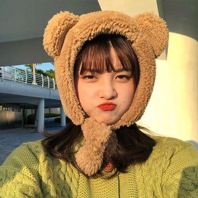 雷锋帽日系可爱小熊骑车护耳韩版学生百搭毛绒网红ins帽子女冬季
