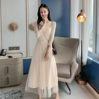 连衣裙女仙气网纱针织拼接连衣裙实拍现货2020夏季新款设计感