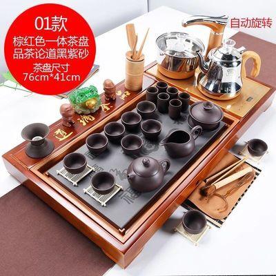 【品茶论道】紫砂功夫茶具套装家用全自动四合一实木茶盘整套茶杯