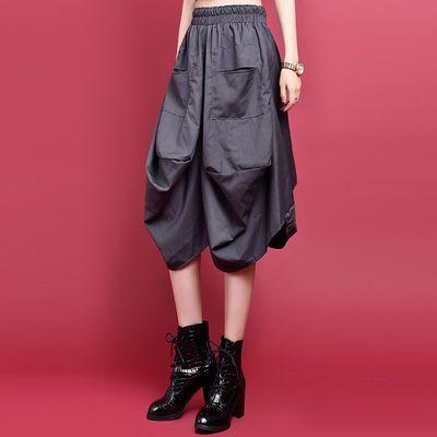 新款半身裙女中长款蓬蓬裙春夏不规则黑色高腰灯笼裙松紧腰花苞裙