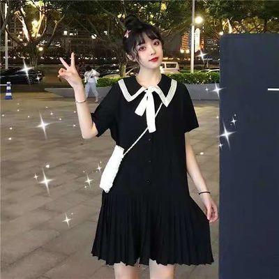 大码女装夏季新款法式小众娃娃领中长裙子胖MM系带短袖百褶连衣裙