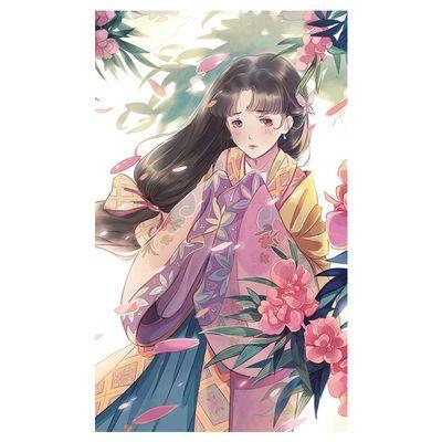 2020爆款填色油彩画古风佳人古典中式人物DIY数字油画手绘涂色客