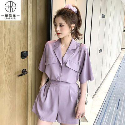 网红紫色小西装短裤套装女夏薄款宽松短袖西服上衣时尚两件套