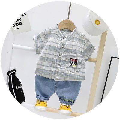 男童装A6衬衫短袖二件套2020新款夏款6个月婴儿1-2岁宝宝纯棉衣服