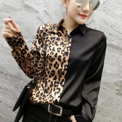 欧洲站2020春装新款时尚豹纹拼接衬衣女设计感长袖衬衫洋气上衣潮