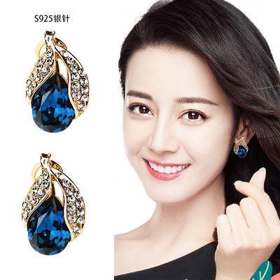 网红闪耀S925银针水晶短款耳钉百搭韩国耳环气质个性耳扣耳饰女
