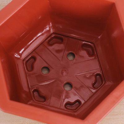 【五个装】塑料花盆六角红白大号花盆种花种菜花盘梅兰菱形花盆