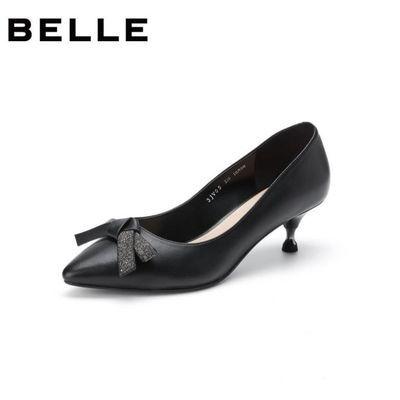 百丽尖头高跟鞋女2020春季商场新款蝴蝶结猫跟单鞋3JV05AQ0