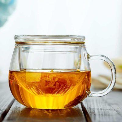 耐热加厚高硼硅玻璃杯子花茶杯咖啡杯带盖过滤泡茶水杯家用办公杯