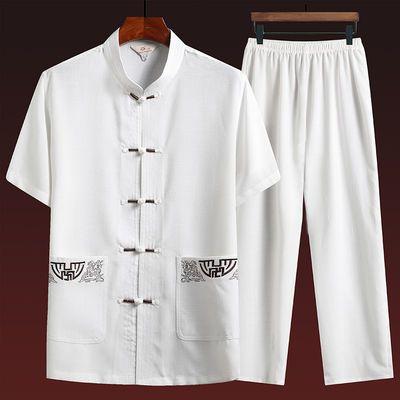 中国风唐装男中老年人棉麻刺绣爸爸夏装爷爷亚麻短袖套装老人衣服