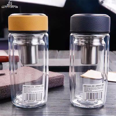 万象双层玻璃杯大容量车载水杯子男士口杯泡茶杯子直杯V20SV21S