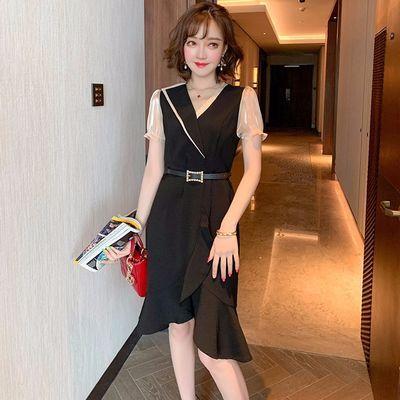 MIUCO气质短袖V领收腰显瘦不规则荷叶边A字连衣裙女2020夏季新款