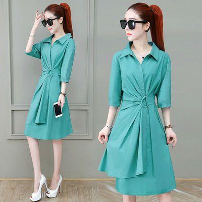 不规则衬衫裙2020夏季新款女装中长款收腰五分袖设计感小众连衣裙