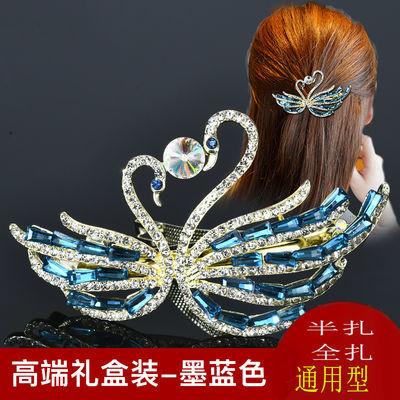一字夹发夹后脑勺韩国横夹女士弹簧发��水晶扎半头的夹子头饰发夹