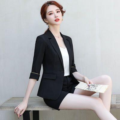 小西装外套女套装短裤两件套2020新款夏季合体修身纯色西服女装
