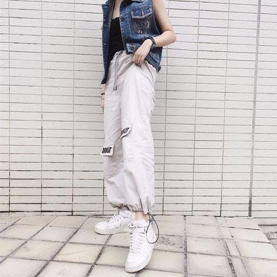美式hiphop工装裤女bf风宽松束脚女生帅气裤子嘻哈九分哈伦裤显瘦