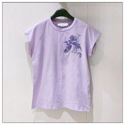 hn8mz 瑞典单 淡紫色短袖T恤女装民族风刺绣绣花圆领夏季半袖藕荷