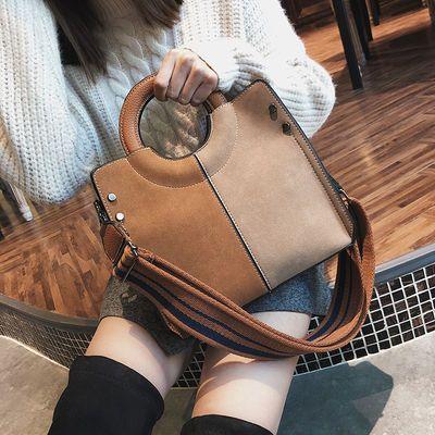 欧美新款包包2019韩版撞色拼色手提包复古磨砂单肩包宽肩带斜挎包
